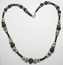 "Dalmation Jasper + Lava beads, glass beads, 20.5"" necklace"