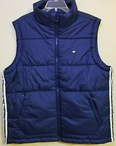 Adidas Originals Padded Stand-Up Collar Puffy Vest Blue H13557 Men's Size Large