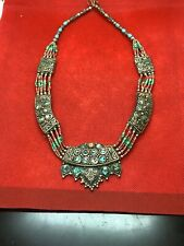 Antique Handmade Tribal Nepalese Turquoise Coral Tassels Silver Necklace