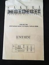 SAKURA Japanese Restaurant Lunch Menu West Los Angeles late 80's Prices