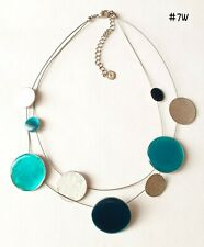 IKITA GREEN AND SILVER TONE DOUBLE STRAND DISC NECKLACE