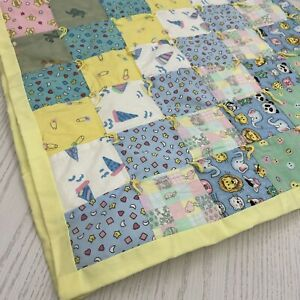"""Handmade Patchwork Quilt Comforter Baby Prints Bed Crib Throw Lap Cover 46x41.5"""""""