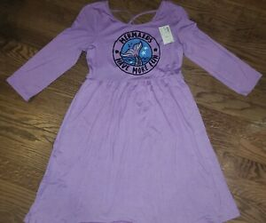 Girls NEW Size 10 JUSTICE purple Mermaids Have More Fun 3/4 Length Sleeve Dress