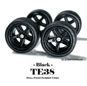 1/64 Scale Custom Wheels - TE38 - 5 Spoke / Star Black - Hot Wheels Rubber Tires