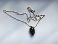Vintage Negra Calavera Collar de Plata Plateado Disfraz