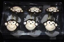 12 Allure Smiling Motion Monkey Heads Resin Shower Curtain Hooks NIB DISC!