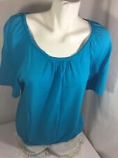 Cable & Gauge Women Blue Blouse Scoop Neck Short Sleeve Size XL Bin56#26