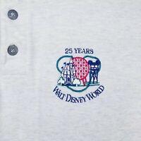 Walt Disney World Medium Polo Shirt 25 Years Epcot Magic Kingdom Vintage Gray