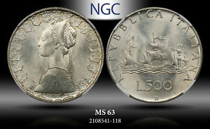 1966 R ITALY S500 LIRE NGC MS63 SILVER!!