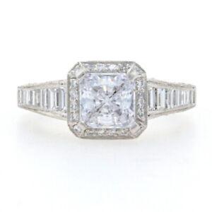 Tacori Reverse Crescent Semi-Mount Halo Engagement Ring Platinum for ~6mm HT2531