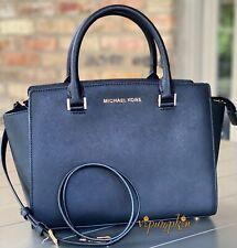 Michael Kors Selma Medium Satchel Saffiano Leather Bag Black