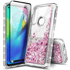For Motorola Moto G Fast Case Liquid Glitter Phone Cover + Tempered Glass