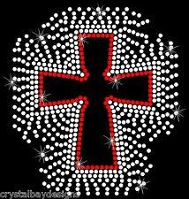 Scatter Cross Religious Christian Rhinestone Bling Transfer Hot Fix