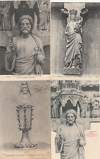 Lot 4 cartes postales anciennes REIMS cathédrale statues