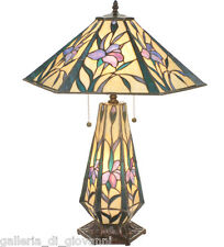 Iris Flower Tiffany Stained Glass Table lamp Lit Base  ~  Lit Base