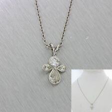 """Vintage Estate 14k Solid White Gold 1ctw Diamond Pendant 18"""" Necklace"""