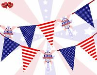 USA Patriotic American 4th July independence Day Stars Bunting Banner 15 flags