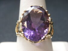 Stunning 14K Yellow Gold Huge Solitaire Amethyst Elephant Crown Ring #1570