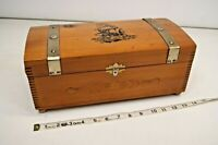 Vintage Wooden Jewelry Trinket Dresser Treasure Box Dovetail with Sailboat