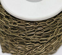 1M Antique Bronze Plated Metal Cross Chains Jewelry Findings 10x5mm