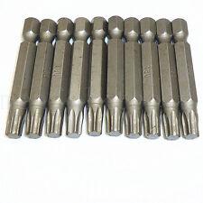 "10pcs 50mm T30 Magnetic Torx Screwdriver Bits Set 1/4"" Hex Shank Star Drive Bits"