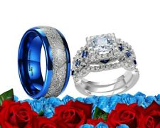 His Tungsten and Her CZ Sterling Silver Blue & Clear Engagement Wedding Ring Set