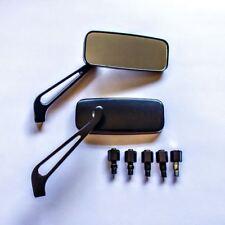 Universal Aleación Aluminio Negro 8/10mm Custom Motocicleta Scooter Espejos Par