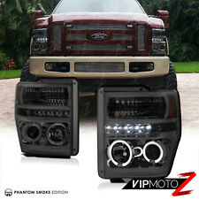 Ford F250 F350 F450 SuperDuty 2008-2010 Smoke Tint Halo LED Projector Headlight