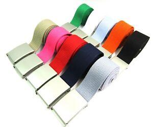 "Unisex High Quality Cotton Plain Webbing Canvas Belt Silver Buckle 38"" Size 16"