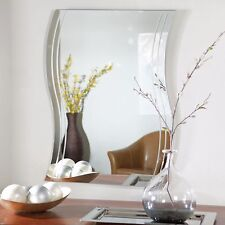 Wall Mirror Decorative Frameless Wave Bathroom Mount Bedroom Hallway Home Decor
