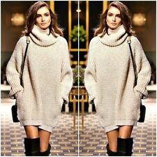 Women Long Sleeve Turtle Neck Knitted Sweater Winter Warm Loose Jumper Tops Coat