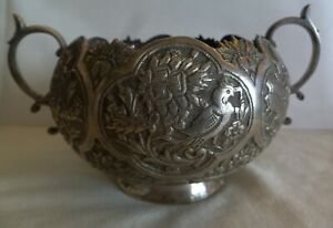 AN OLD PERSIAN 84 SILVER BEAUTIFUL SUGAR BOWL  HAND CHASED WITH BIRDS & ANIMALS