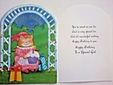 1 Birthday Greeting Card/Envelope Girl Happy Kid Child Hat Cute Cat Cupcake Love