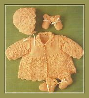 """Baby's Crochet Matinee Set Pattern Jacket, Bonnet, Bootees Mitts 4ply 16-20"""" 974"""