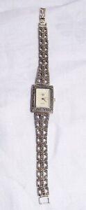 Damenuhr Armbanduhr Silber 925 mit Markasiten im Art Deco Stil