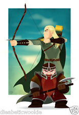 Lord of the RIngs Legolas Gimli LotR Gandalf Bilbo Hobbit art print movie poster