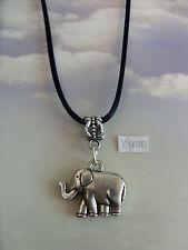 "A Elephant  Tibetan Silver Charm Pendant, Long ( 30"" ) Black Cord Chain Necklace"
