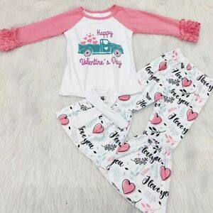 Valentine's Day Boutique Outfit Bell Pants Set Size 2T, 4T,