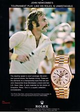 "1977 Rolex ""Day-Date Watch"" John Newcombe Tennis Player Vintage Print Advert"
