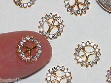2pc Miniature dollhouse tiny crystal gld Peace Symbol beads flat backs findings