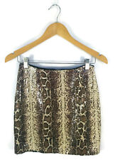 Sequin Skirt - Snakeskin Shimmer Pencil Mini Club Boho Brown Animal Print - 10/M