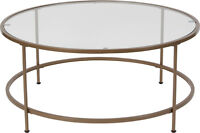 Contemporary Round Design Tempered Glass Coffee Table with Matte Gold Frame