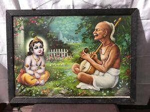 Vintage Old Hindu Temple Religious Print Guru Teaching Kid Lord Krishna A.97
