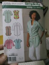 Simplicity 2255 Sewing Pattern MISSES TUNIC SHIRT EAST TO SEW 14-22 UNCUT