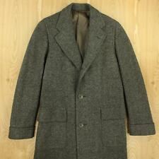 """vtg 30s 40s era thick wool over coat SMALL wool 40"""" chest gray hollywood tweed"""