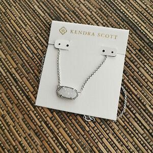 Kendra Scott Elisa Silver Iridescent Drusy Pendant Necklace NEW AUTHENTIC