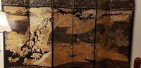 Vintage 6-panel Asian / Oriental room divider screen black BEAUTIFUL VWSR188