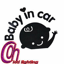 Baby In Car Waving Baby on Board Safety Sign Car Decal / Sticker BLACK