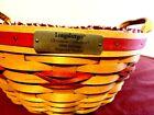 NOS Longaberger 1999 Christmas Edition Popcorn Basket, Red Accent  #15156 MINT