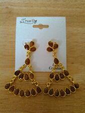 "teardrop shaped stones, 2.25"", new Goldtone dangle earrings with brown"